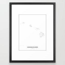 Hawaiian Islands, Hawaii Minimalist Map Framed Art Print