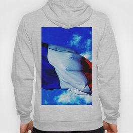 French flag blowing in the wind Hoody