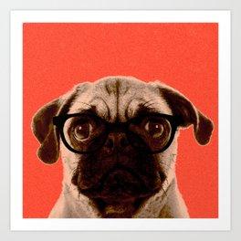 Geek Pug in Red Background Art Print