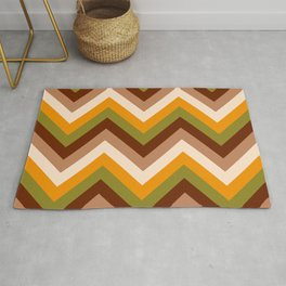 70s Chevron retro thick brown, orange, green stripes Rug