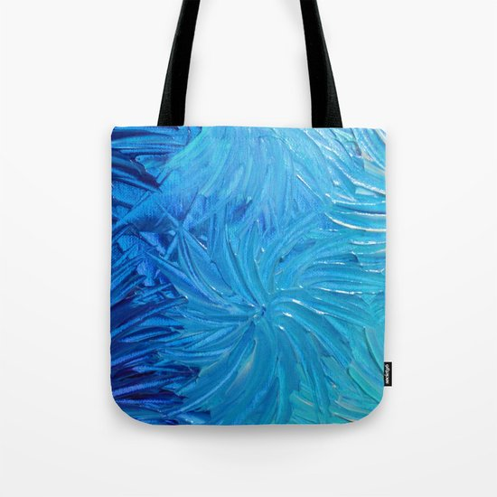 WATER FLOWERS 2 - Stunning Ocean Beach Waves Floral Abstract Acrylic Painting Turquoise Blue Navy Tote Bag