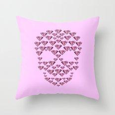 Pink Diamond Skull Throw Pillow