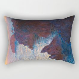 Claude Monet Impressionist Landscape Oil Painting Sunset At Sea Cliffs Ocean Cliff Landscape Rectangular Pillow