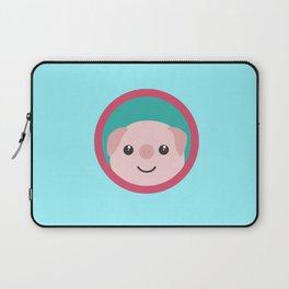 Cute pink pig with purple circle Laptop Sleeve