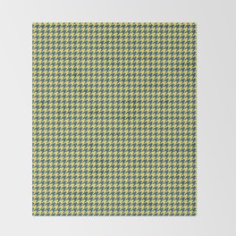 Yellow Blue Houndstooth Pattern Throw Blanket