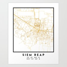 SIEM REAP CAMBODIA CITY STREET MAP ART Art Print