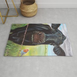 Cow and a robin painting Rug