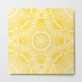 Yellow Ethnic Mandala Pattern Metal Print