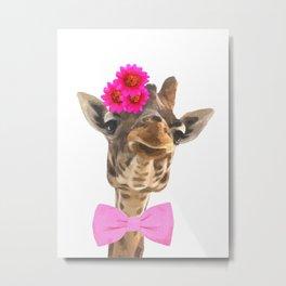 Giraffe funny animal illustration Metal Print