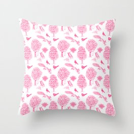 A Girl Reading in the Garden (White and Pink) Throw Pillow