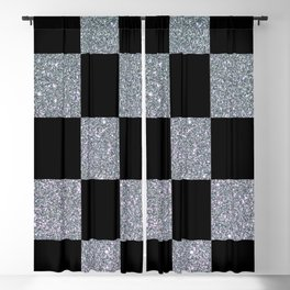 Black and Silver Checkers Blackout Curtain