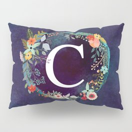 Personalized Monogram Initial Letter C Floral Wreath Artwork Pillow Sham