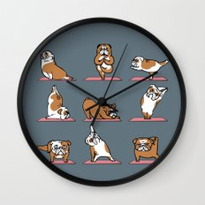 English Bulldog Yoga Wall Clock