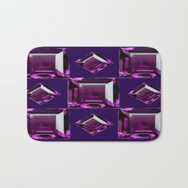 Dark Purple Amethyst  February Birthstone Gems Pattern  Bath Mat