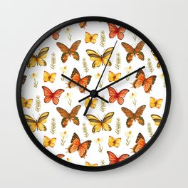 Butterfly Totem White Background Wall Clock