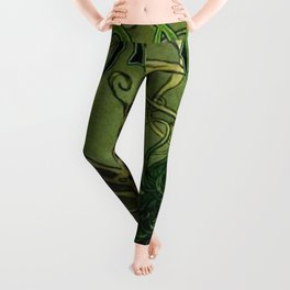 Vintage Parisian Green Fairy Absinthe Alcoholic Aperitif Advertisement Poster Leggings