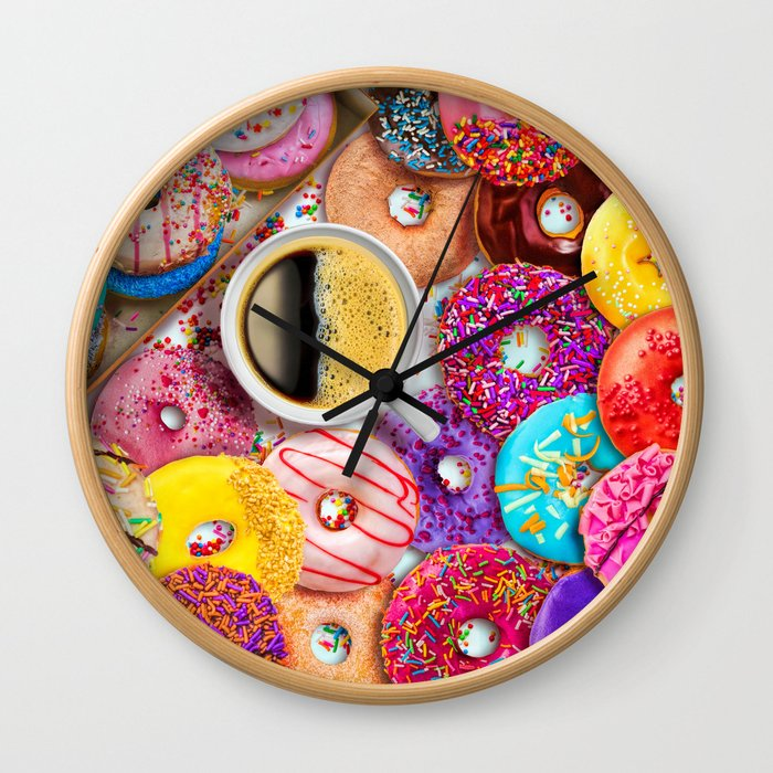 Donuts & Coffee Wall Clock
