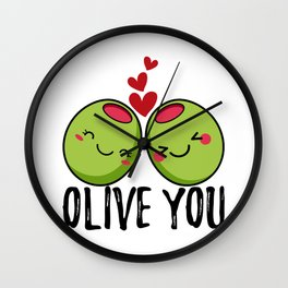 Olive You | I Love You | Valentine's Day Heart Wall Clock
