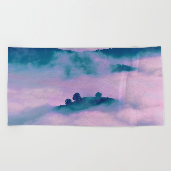 Forest land fog Beach Towel