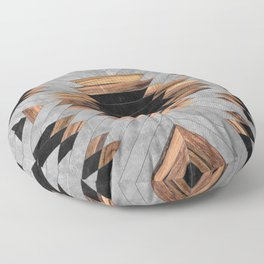 Urban Tribal Pattern No.6 - Aztec - Concrete and Wood Floor Pillow