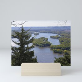 Upper Mississippi River, looking downriver from Buena Vista Park, Alma, WI Mini Art Print