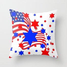 PATRIOTIC JULY 4TH AMERICAN FLAG ART Throw Pillow