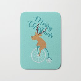 Mr Reindeer having Fun with his Penny-farthing Bicycle Bath Mat