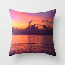 Spectacular Sunset in Tropical Tahiti Throw Pillow