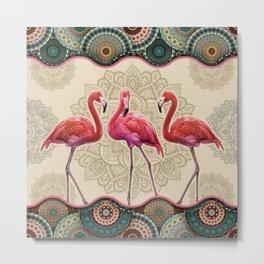 Flamingo Vintage Mandala Metal Print