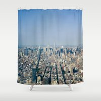 manhattan Shower Curtains featuring Manhattan  by Anna Harding