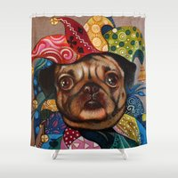 pug Shower Curtains featuring Pug by oxana zaika