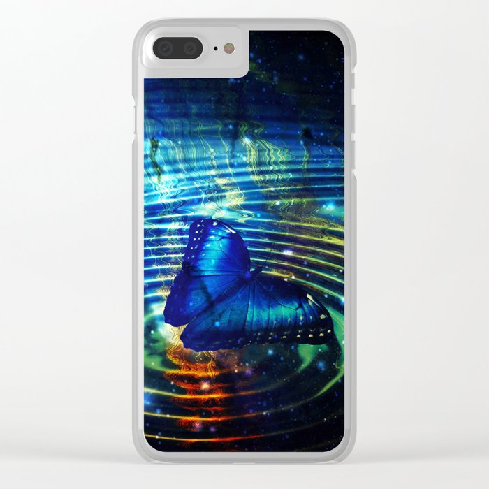 The Butterfly Effect in Blue Clear iPhone Case