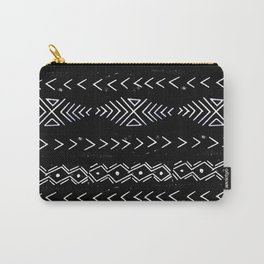 Mudcloth linocut design original black and white minimal inky texture pattern Carry-All Pouch