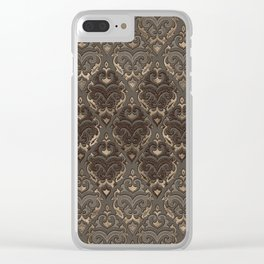 Oriental Pattern -Pastels and Brown Leather texture Clear iPhone Case