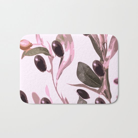 Olive tree branch with pink tones on white background Bath Mat