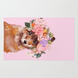 Baby fox with Flower Crown Rug