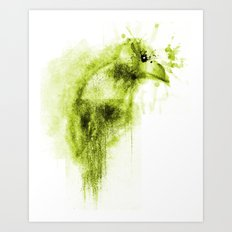 Splatter Bird Green Art Print