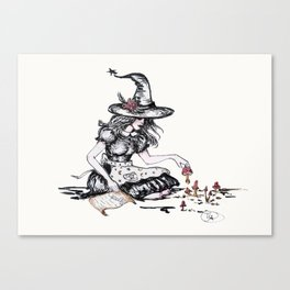 witches garden full of mushrooms for magic spells Canvas Print