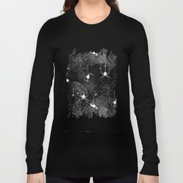 Black and White Spider Webs Pattern Long Sleeve T-shirt