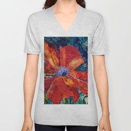 Red Calla Lilies, Kiss of Death floral blossoms portrait painting by Bohumil Kubista Unisex V-Neck
