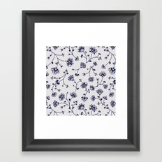 Indigo Floral Trail (reversed) Framed Art Print