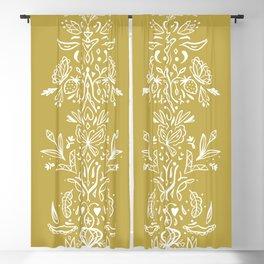 Modern folk art on mustard yellow Blackout Curtain