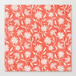 Living Coral Floral Pattern Canvas Print