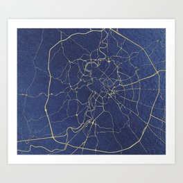 Rome Blue and Gold Street Map Art Print