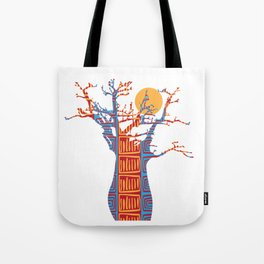 African Baobab tree of life at Sunset Tote Bag