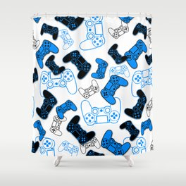 Video Games Blue on White Shower Curtain