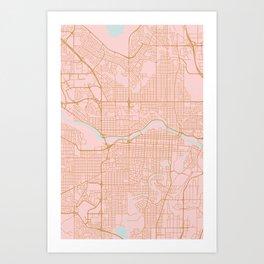 Calgary map, Canada Art Print