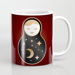 Russian doll matrioshka Babushka smiling Kawaii cute face, Stars, moon, constellation, night sky Coffee Mug