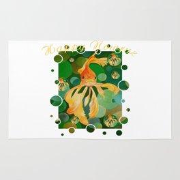 Happy Nowruz Persian New Year Goldfish In Green Sea Rug