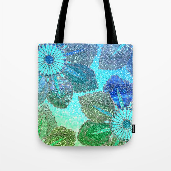 Aqua Green and Blue Glitter Flowers on #Society6 Tote Bag